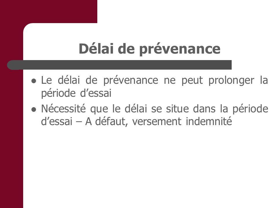 Délai de prévenance Le délai de prévenance ne peut prolonger la période d'essai.