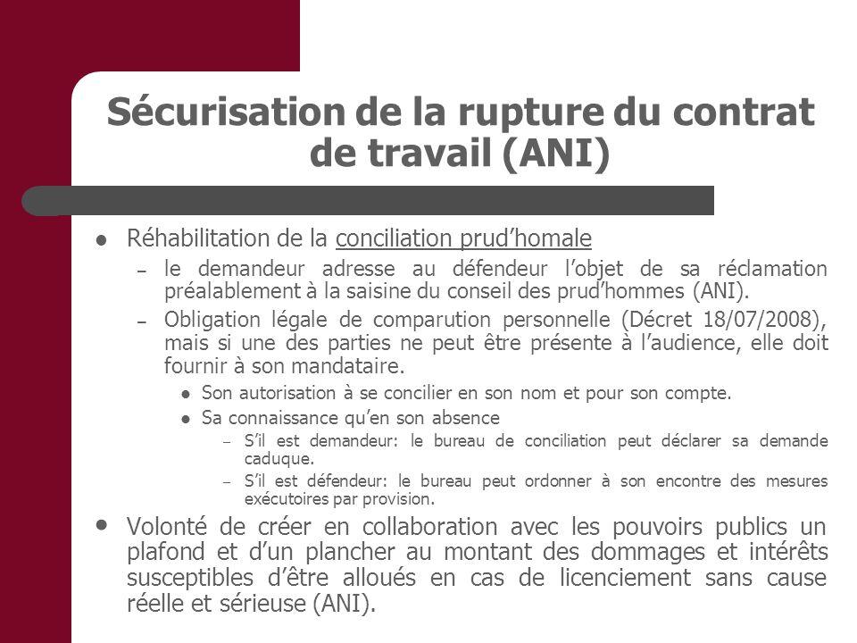 Sécurisation de la rupture du contrat de travail (ANI)