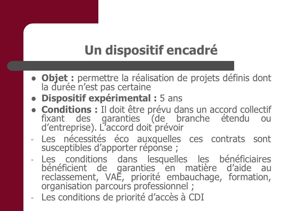 Un dispositif encadré Objet : permettre la réalisation de projets définis dont la durée n'est pas certaine.