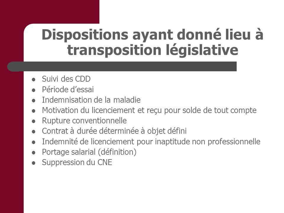 Dispositions ayant donné lieu à transposition législative