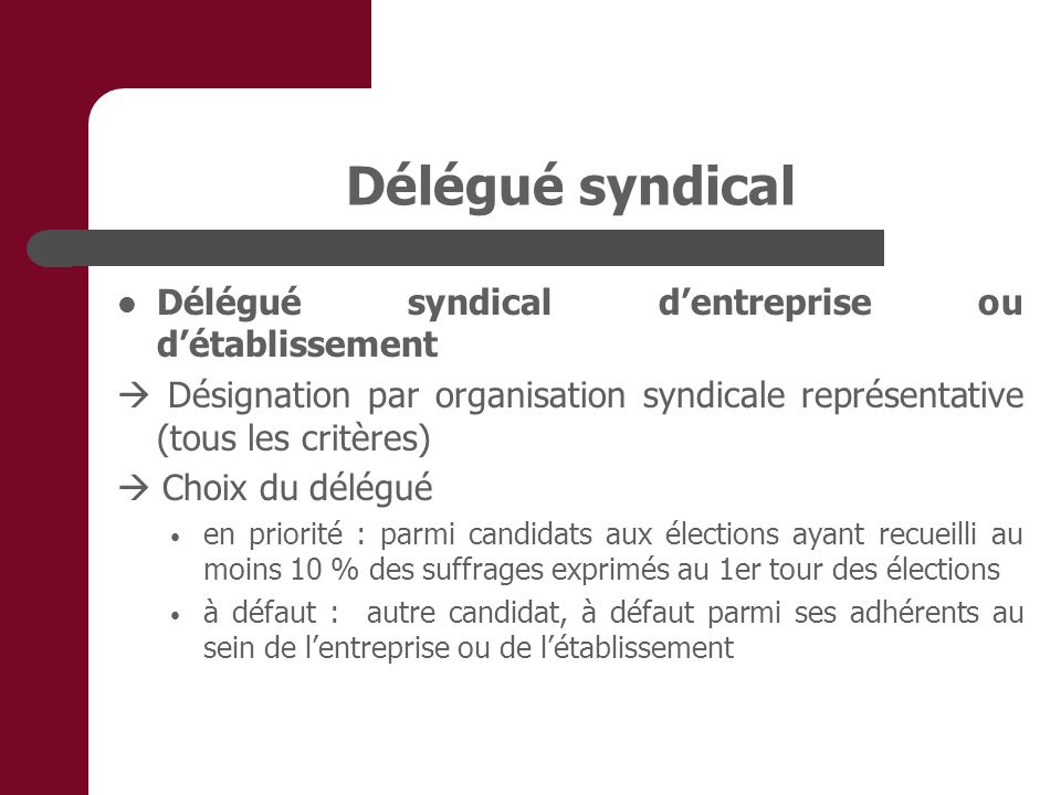Délégué syndical Délégué syndical d'entreprise ou d'établissement
