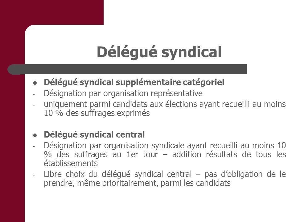 Délégué syndical Délégué syndical supplémentaire catégoriel