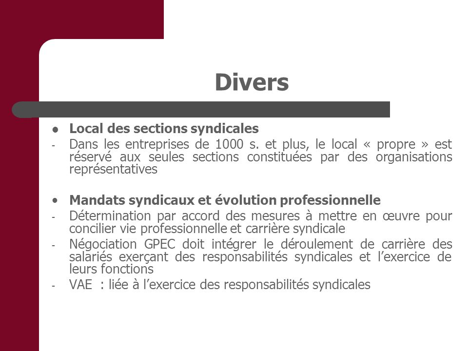 Divers Local des sections syndicales