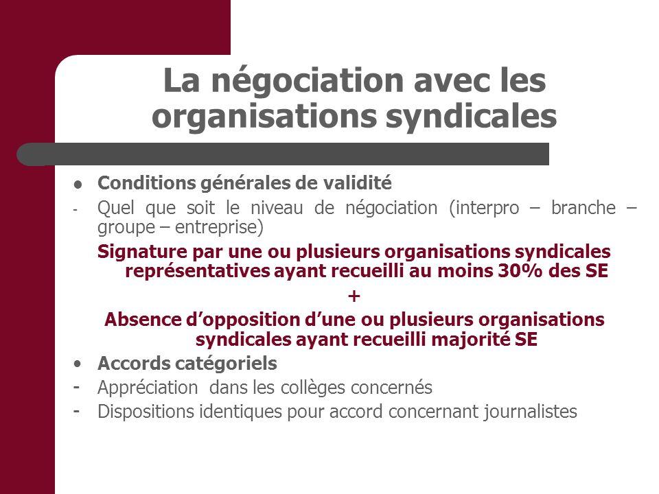 La négociation avec les organisations syndicales