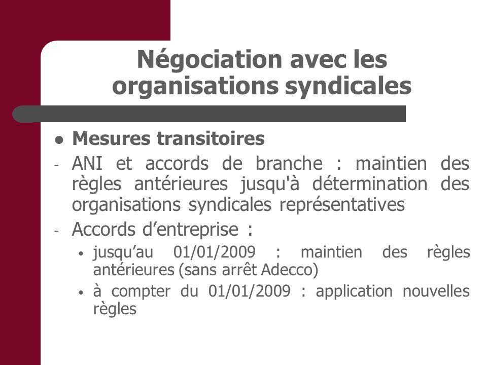 Négociation avec les organisations syndicales