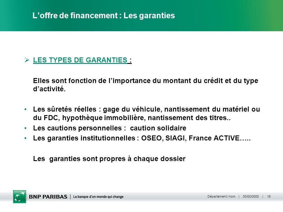 L'offre de financement : Les garanties