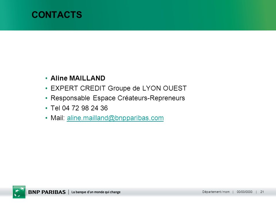 CONTACTS Aline MAILLAND EXPERT CREDIT Groupe de LYON OUEST