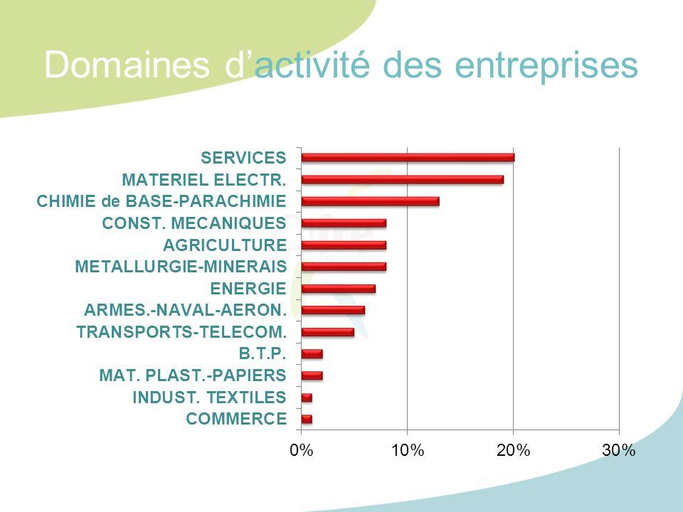 Domaines d'activité des entreprises