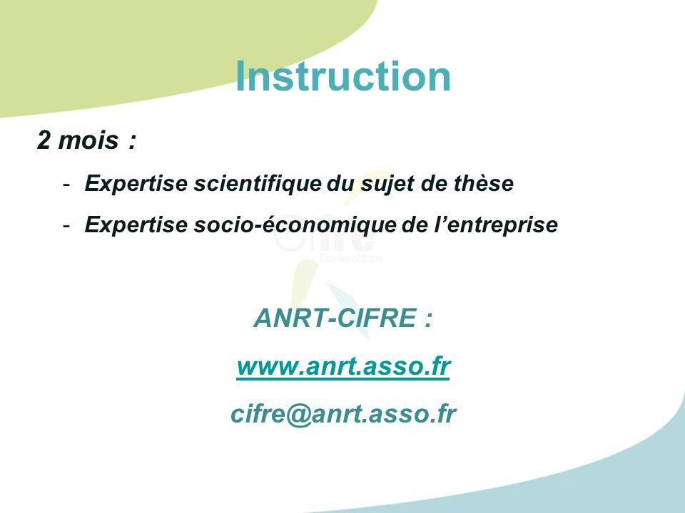 Instruction 2 mois : ANRT-CIFRE : www.anrt.asso.fr cifre@anrt.asso.fr