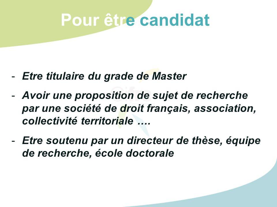 Pour être candidat Etre titulaire du grade de Master