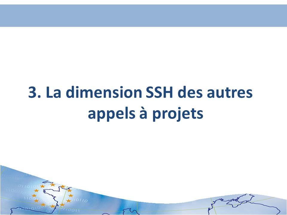 3. La dimension SSH des autres appels à projets