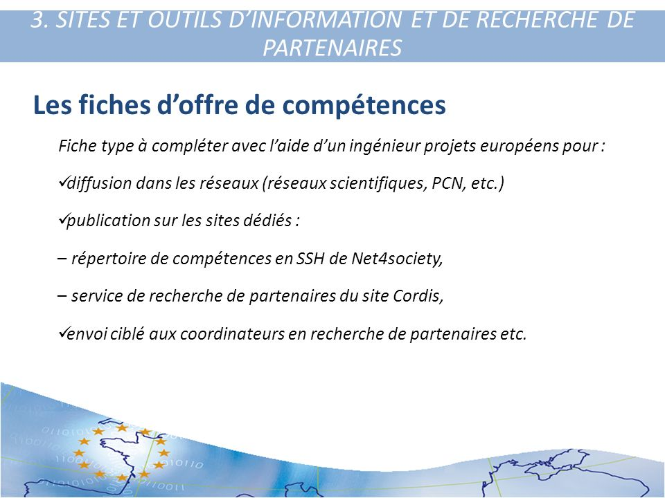3. SITES ET OUTILS D'INFORMATION ET DE RECHERCHE DE PARTENAIRES