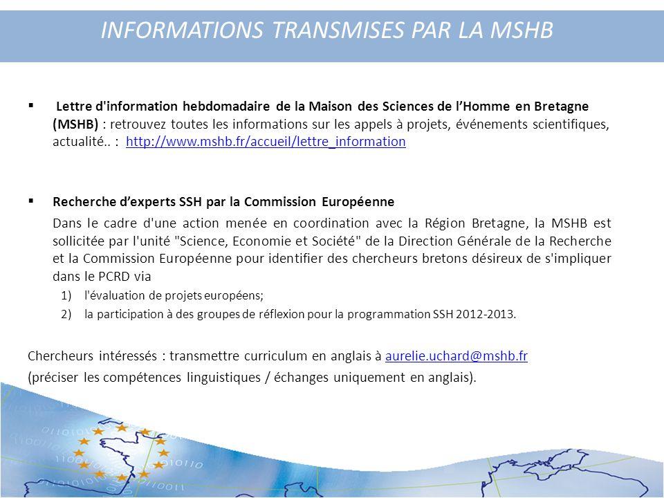 INFORMATIONS TRANSMISES PAR LA MSHB