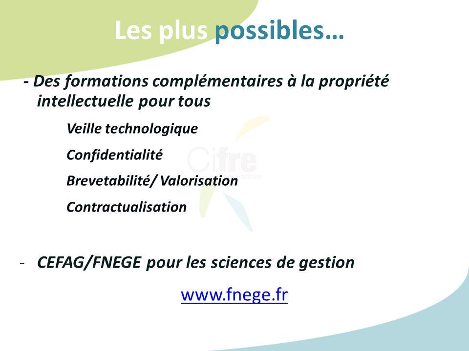 Les plus possibles… www.fnege.fr