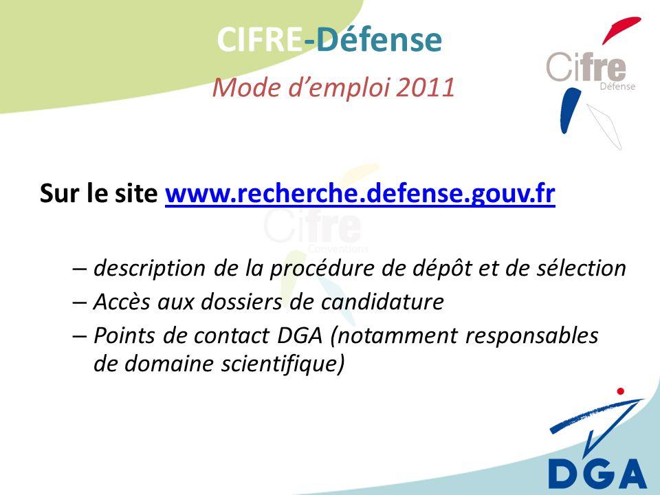 CIFRE-Défense Mode d'emploi 2011