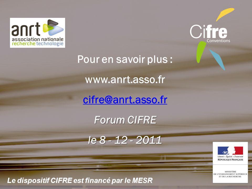 Pour en savoir plus : www.anrt.asso.fr cifre@anrt.asso.fr Forum CIFRE