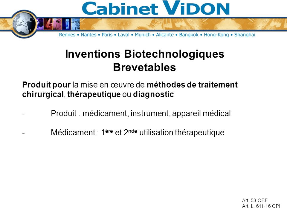 Inventions Biotechnologiques