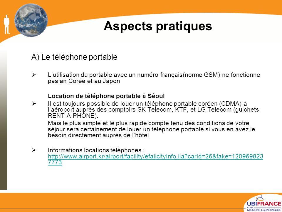Aspects pratiques A) Le téléphone portable