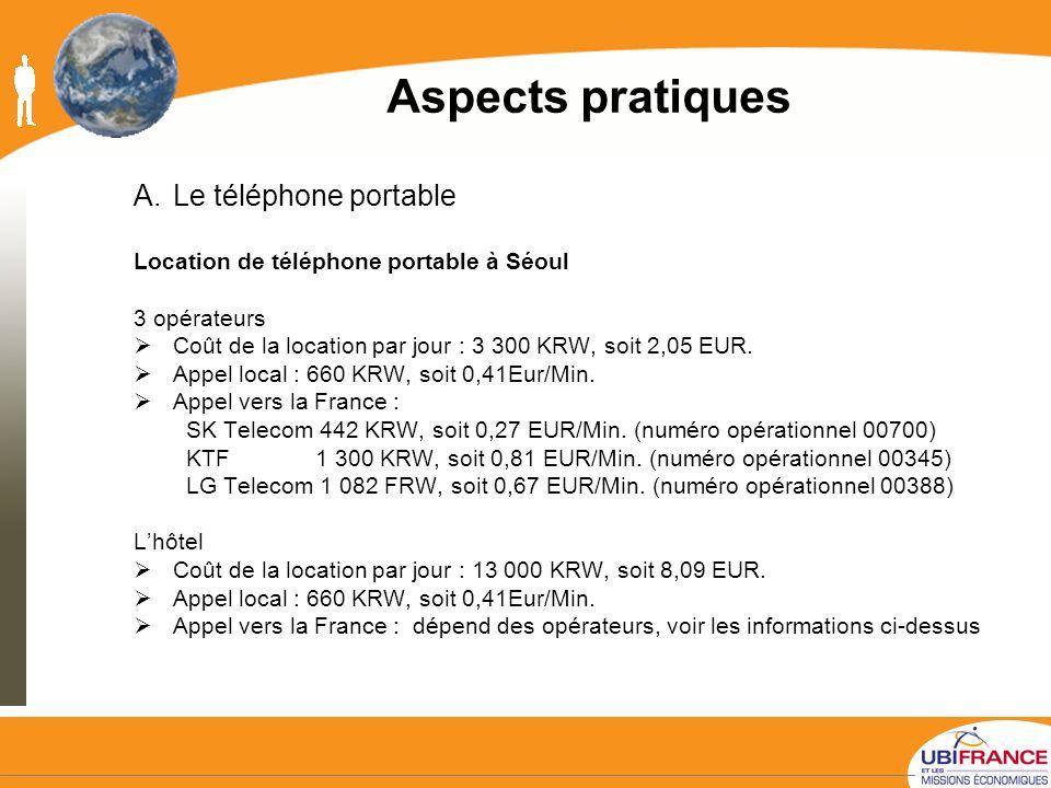 Aspects pratiques Le téléphone portable