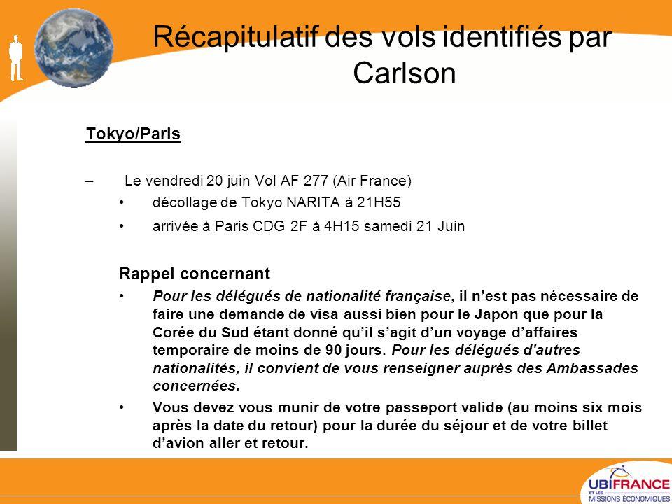 Récapitulatif des vols identifiés par Carlson