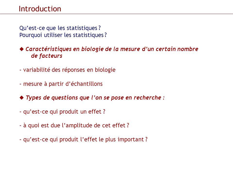 Introduction Qu'est-ce que les statistiques