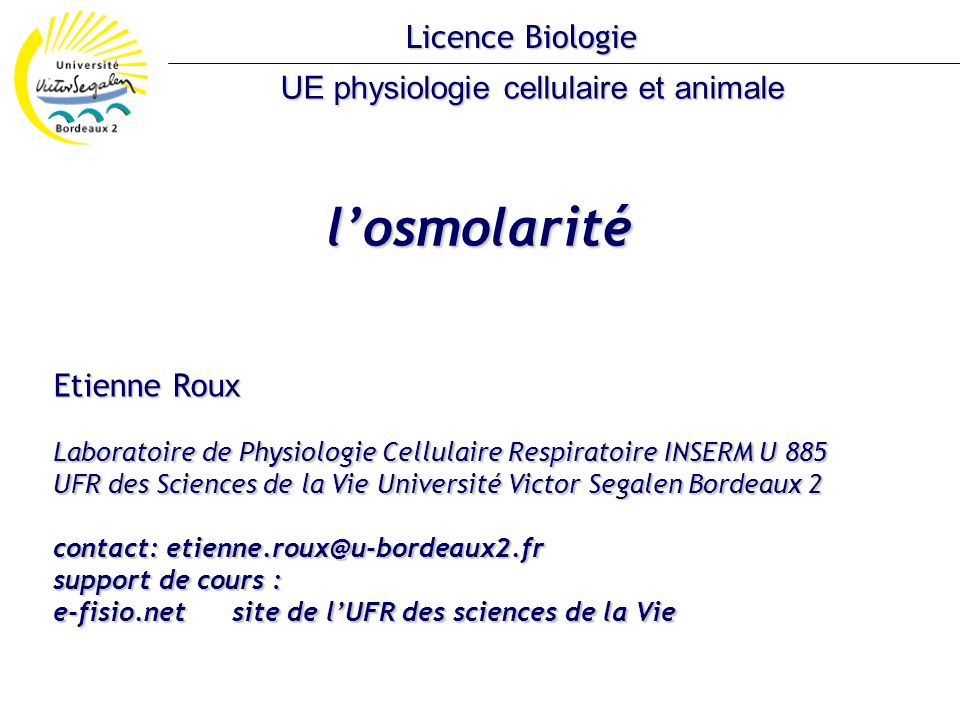UE physiologie cellulaire et animale