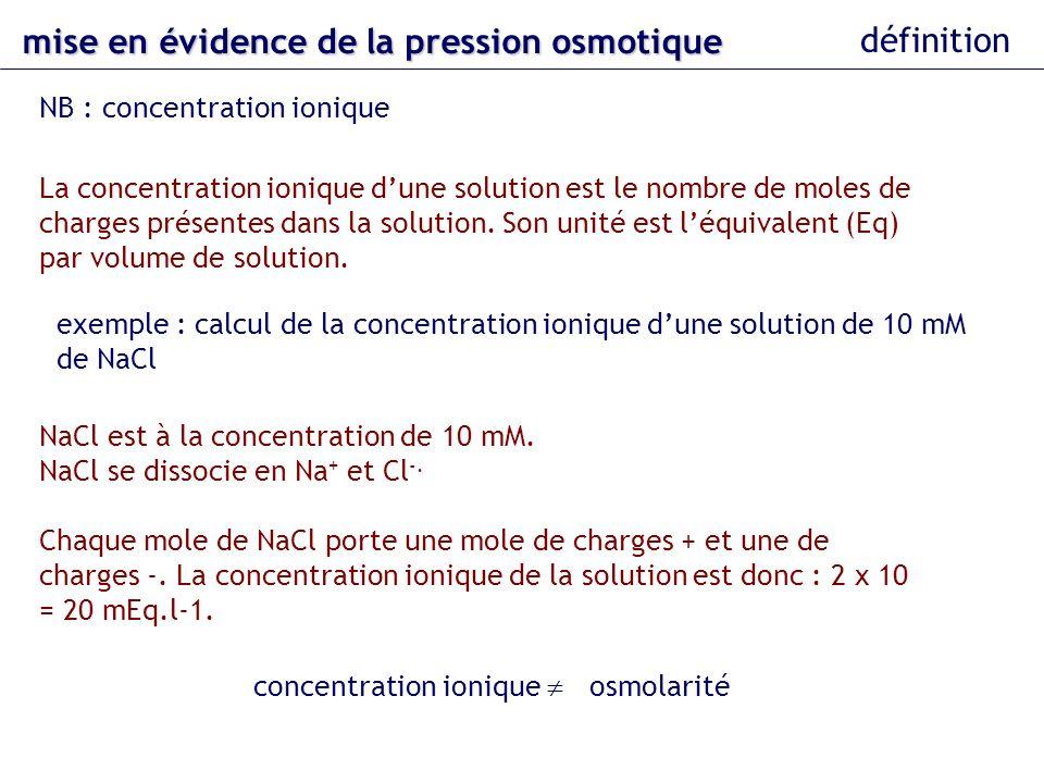 mise en évidence de la pression osmotique définition