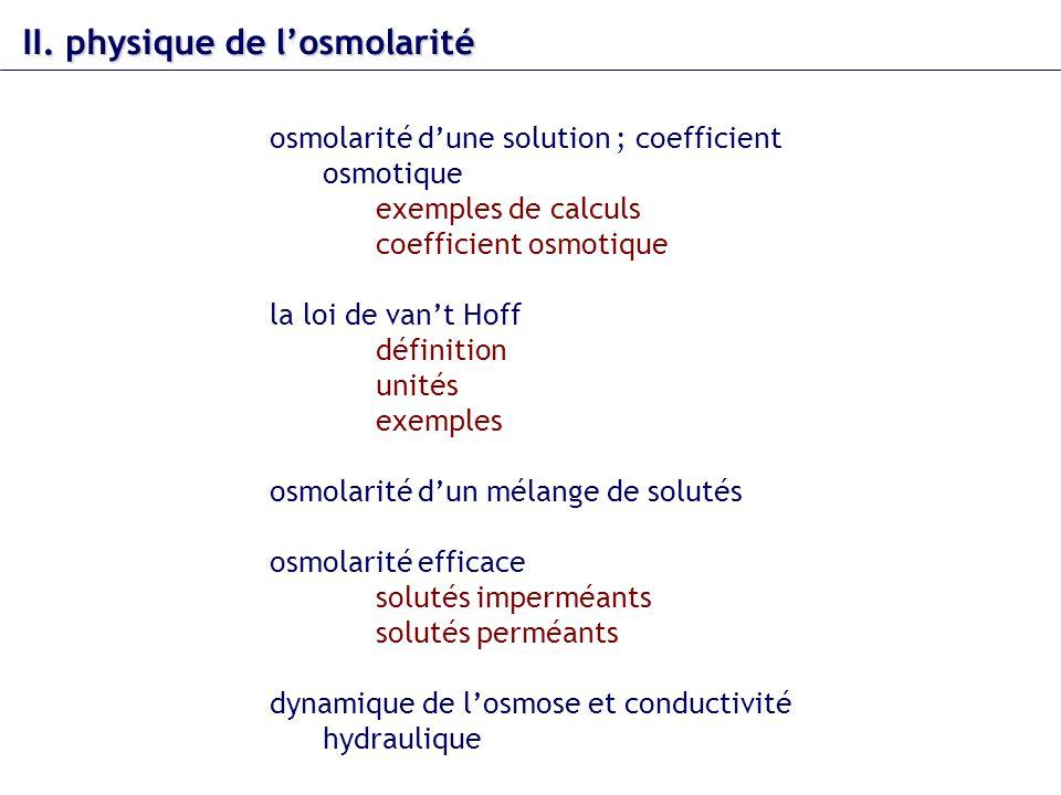 II. physique de l'osmolarité
