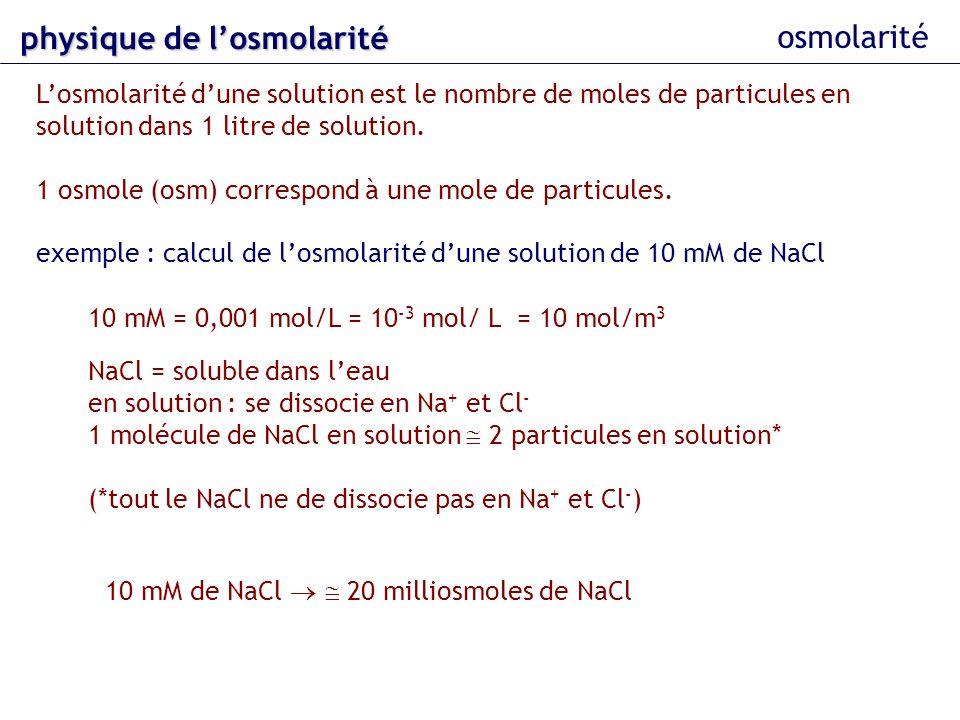 physique de l'osmolarité osmolarité