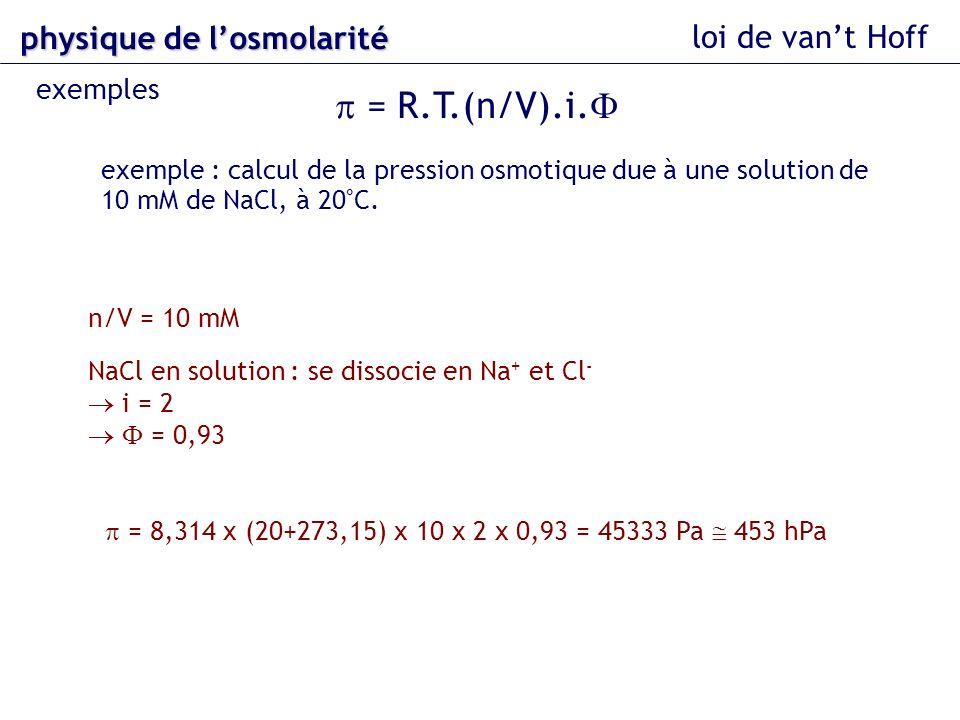 p = R.T.(n/V).i.F physique de l'osmolarité loi de van't Hoff exemples