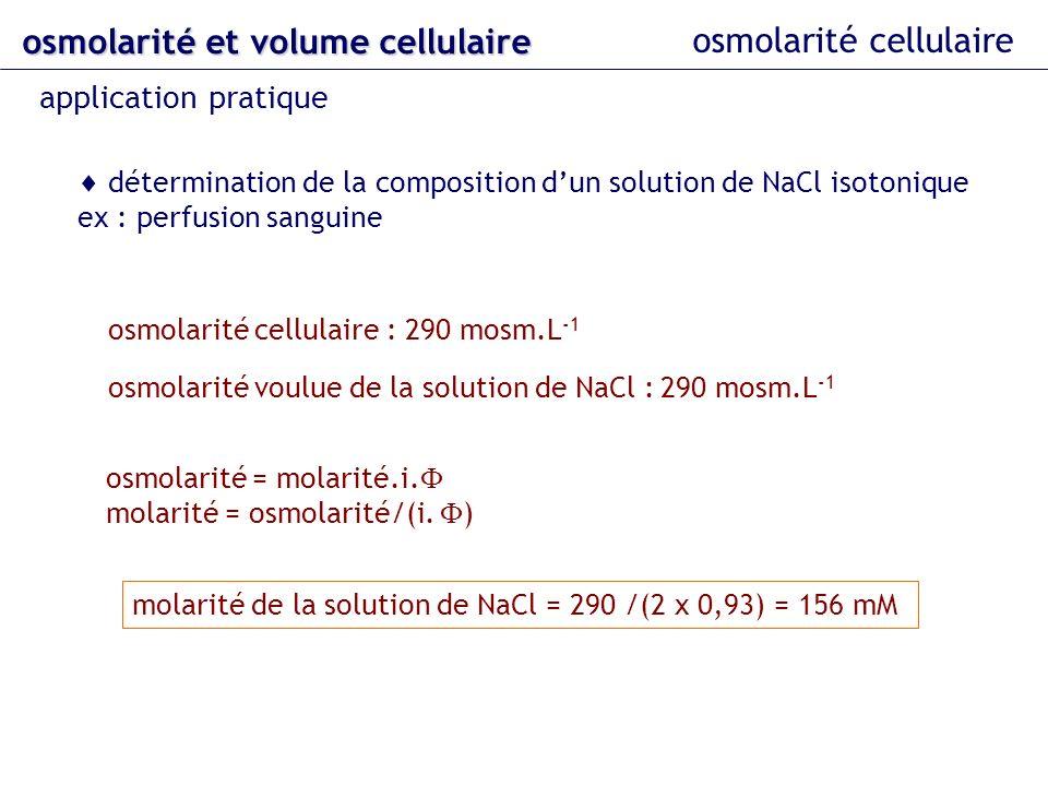 osmolarité et volume cellulaire osmolarité cellulaire