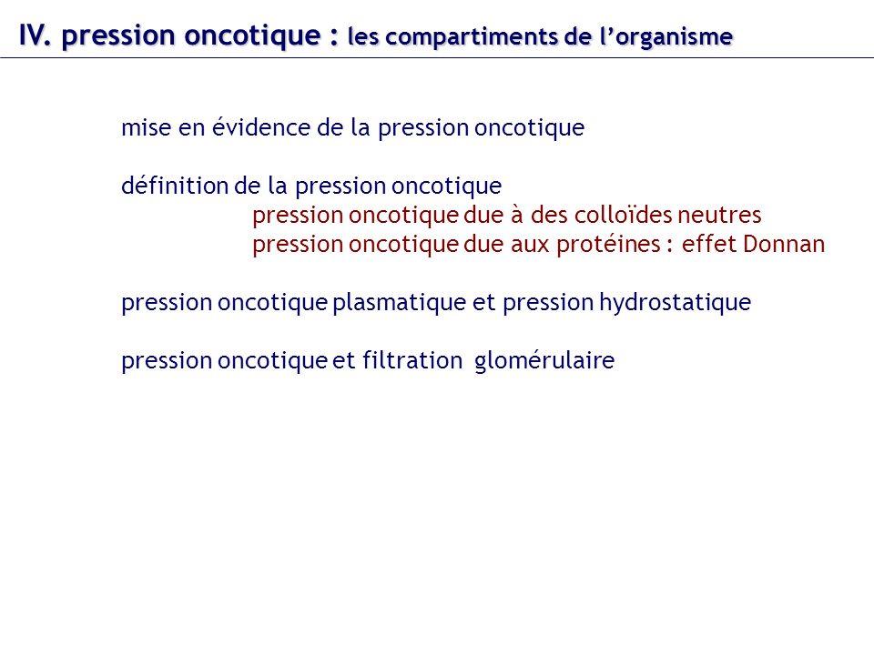 IV. pression oncotique : les compartiments de l'organisme