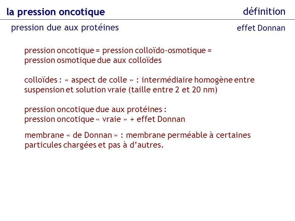 la pression oncotique définition pression due aux protéines