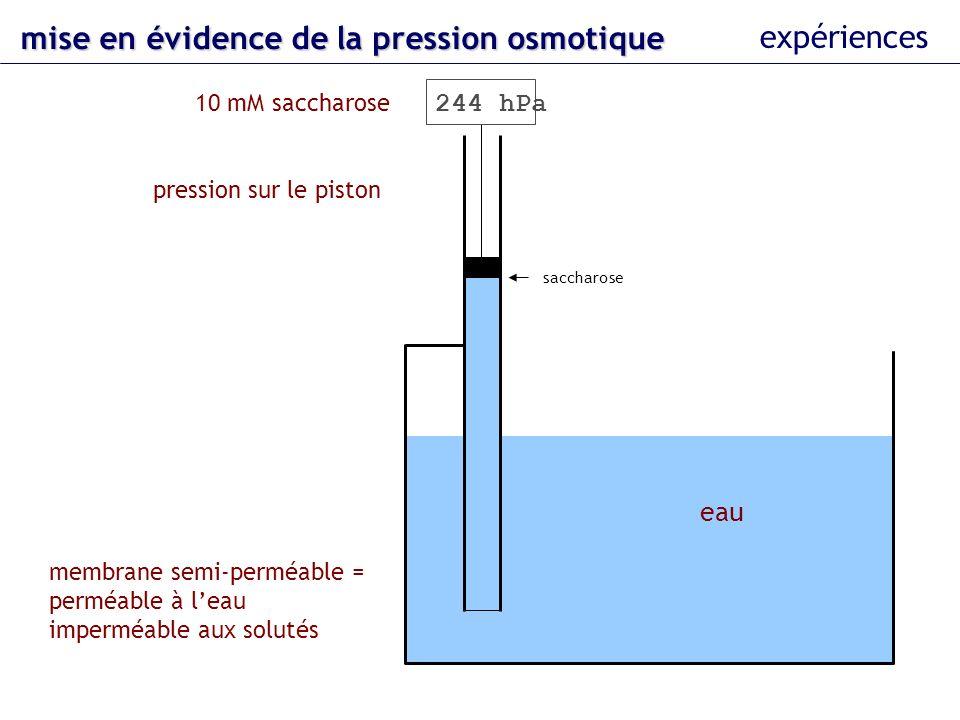 mise en évidence de la pression osmotique expériences