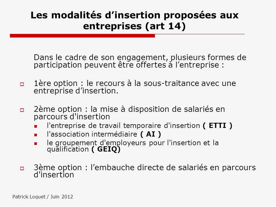 Les modalités d'insertion proposées aux entreprises (art 14)