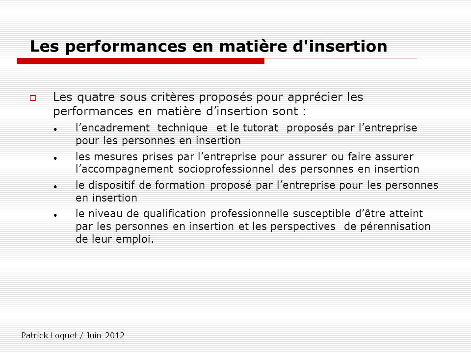 Les performances en matière d insertion