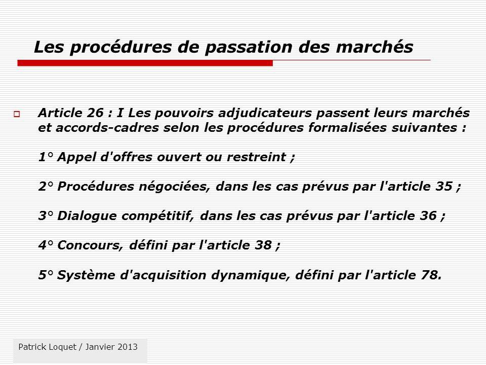 Les procédures de passation des marchés