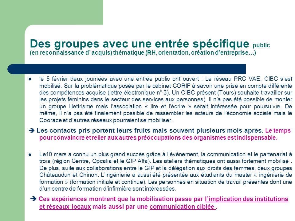 Des groupes avec une entrée spécifique public (en reconnaissance d' acquis) thématique (RH, orientation, création d'entreprise…)