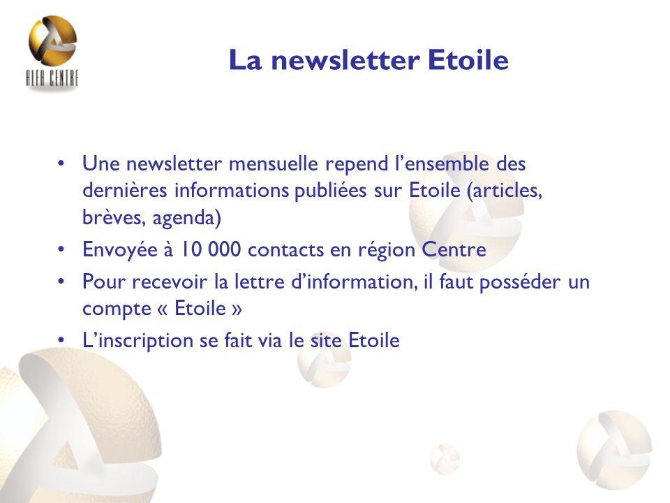 La newsletter Etoile Une newsletter mensuelle repend l'ensemble des dernières informations publiées sur Etoile (articles, brèves, agenda)