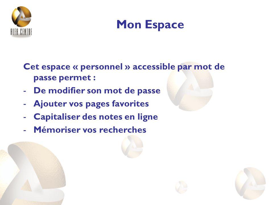 Mon Espace Cet espace « personnel » accessible par mot de passe permet : De modifier son mot de passe.