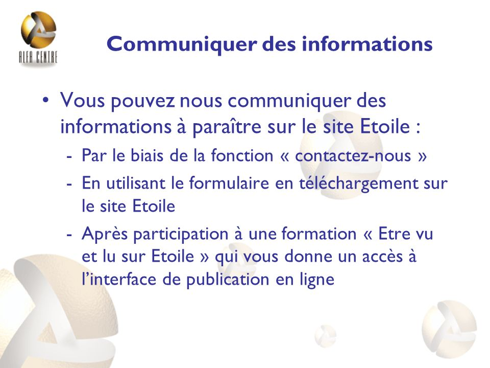 Communiquer des informations