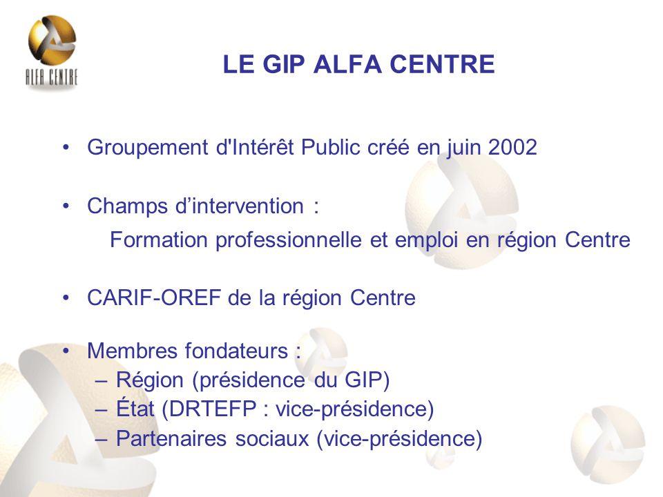 LE GIP ALFA CENTRE Groupement d Intérêt Public créé en juin 2002