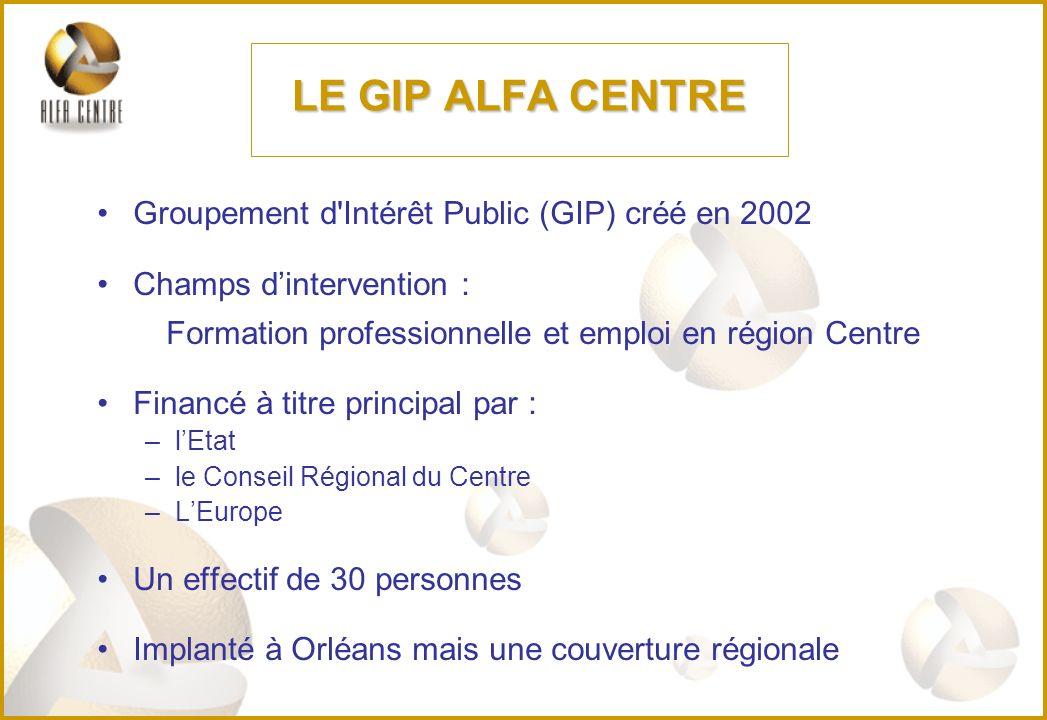 LE GIP ALFA CENTRE Groupement d Intérêt Public (GIP) créé en 2002