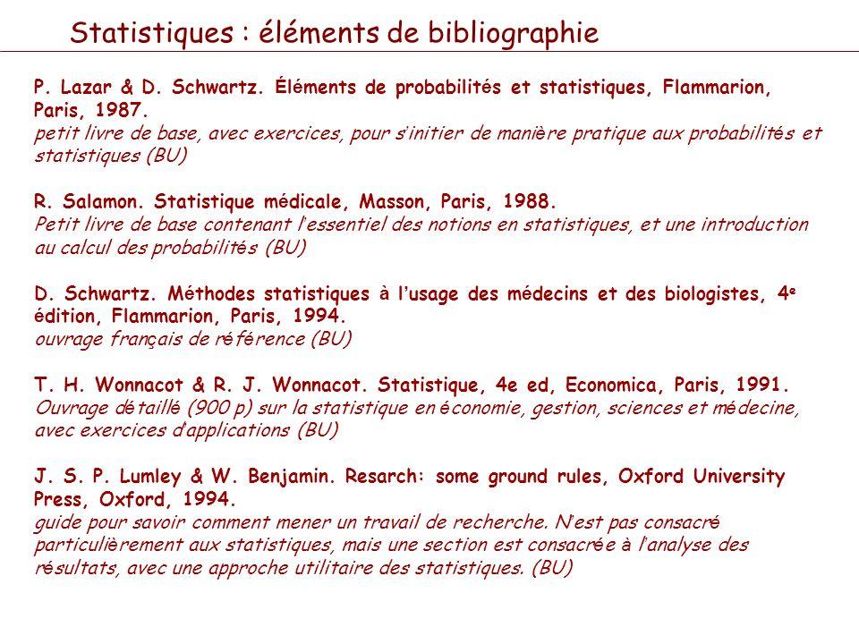 Statistiques : éléments de bibliographie