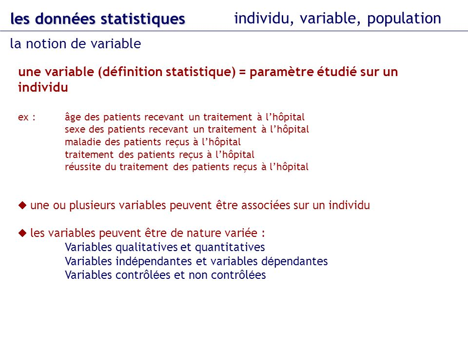 les données statistiques individu, variable, population