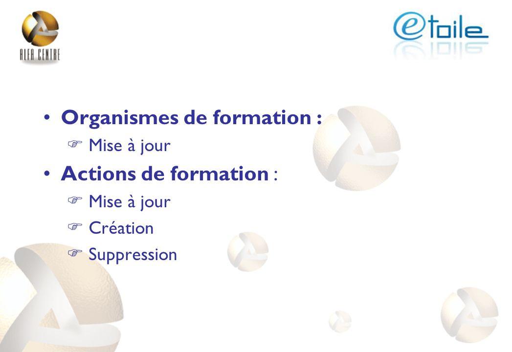 Organismes de formation : Actions de formation :