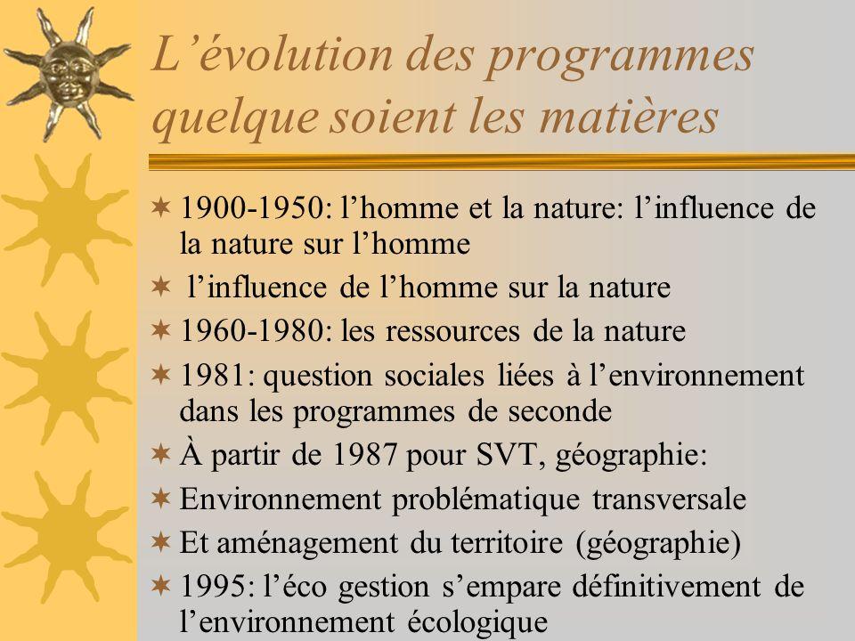 L'évolution des programmes quelque soient les matières