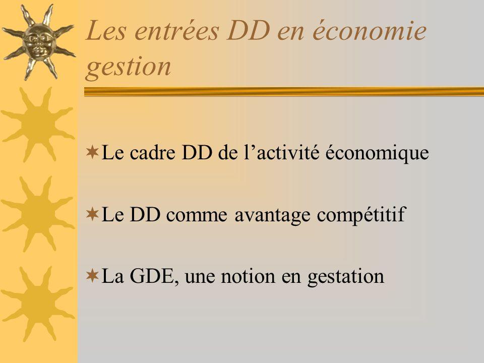 Les entrées DD en économie gestion