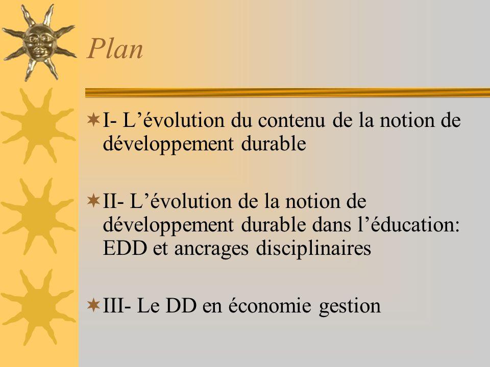 Plan I- L'évolution du contenu de la notion de développement durable