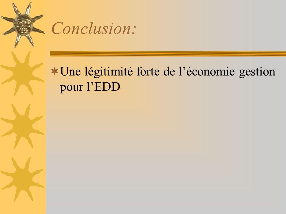 Conclusion: Une légitimité forte de l'économie gestion pour l'EDD
